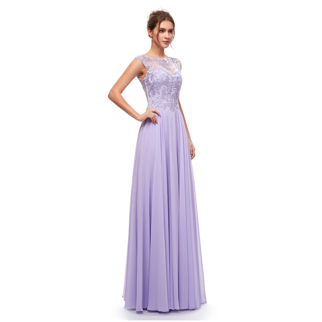 Cheap Long Chiffon Bridesmaid Dresses with Lace Appliques for Wedding Party Dress Illusion Zipper Back for Women Gowns L5311 1