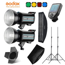 Godox QS600II 2x 400Ws Photo Studio Flash Lighting,XPRO Trigger,Softbox,280cm Light Stand,Barn Door,Flash built-in Receivers 2x godox de300 studio flash 60x90cm softbox kit