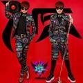 S-5XL! 2015 Dos Homens NOVOS magro Masculino DJ cantor masculino bigbang GD luzes de néon coloridos fino terno formal vestido de Traje trajes roupas