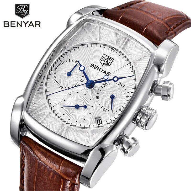 Casual Fashion Men Watch Benyar Top Brand Business Chronograph Waterproof Quartz-watch Leather Army Male Clock Relogio Masculino