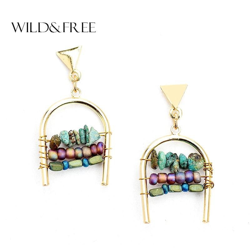 WILD & FREE Women Mix Color Natural Stone Bead Stud Earrings Zinc Alloy Gold Geometric Shape Stud Earrings Jewelry