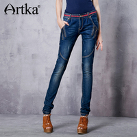 Artka Women S Embroidery Revers Legging Elastic Long Jeans Pencil Zipper Fly Cuffs Midweight Full Length