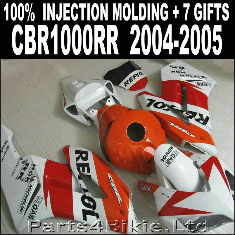 Pièces de haute qualité pour HONDA cbr1000rr 2004 2005 carénages rouge orange blanc noir carénage CBR 1000 RR 04 05 7 cadeaux WBJ86