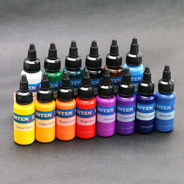 $ US $29.50 14bottl Natural Plant Tattoo Pigment Permanent Makeup 30ml/Bottle Tattoos Ink Pigment For Body Professional Beauty Art Supplies