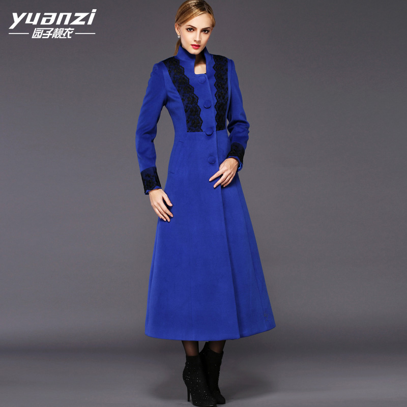 New Trench Coat Women 2018 Winter Maxi Long Blue Wool Coat Female Stand collar Single Breasted Slim Lace Stitching Cashmere Coat все цены