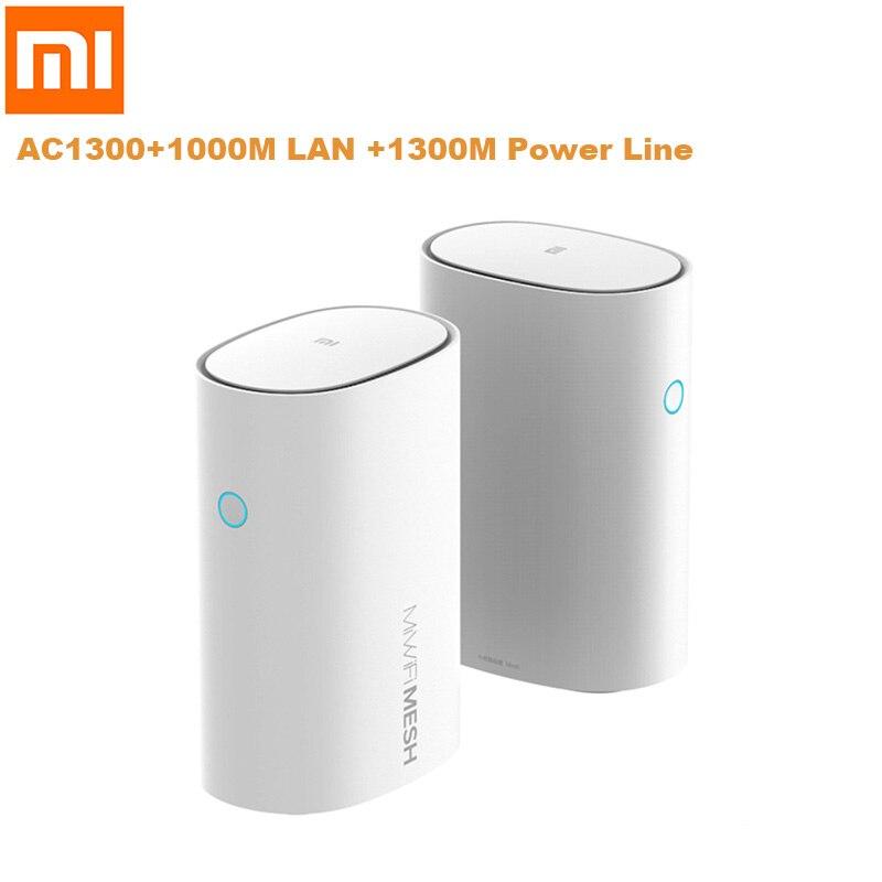 2 pièces Xiao mi WiFi routeur 2.4G/5GHz Smart Xiao mi Mesh WiFi routeur AC1300 + 1000M LAN + 1300M Qualcomm 4 Core 4 amplificateurs de Signal - 2