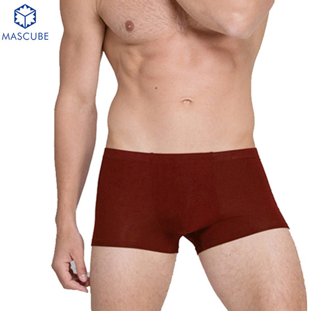 [MASCUBE]Sexy Cotton Underwear Men Tight Panties Solid Color Soft Quality Fabrics Slip Homme bermuda masculina 4pcs