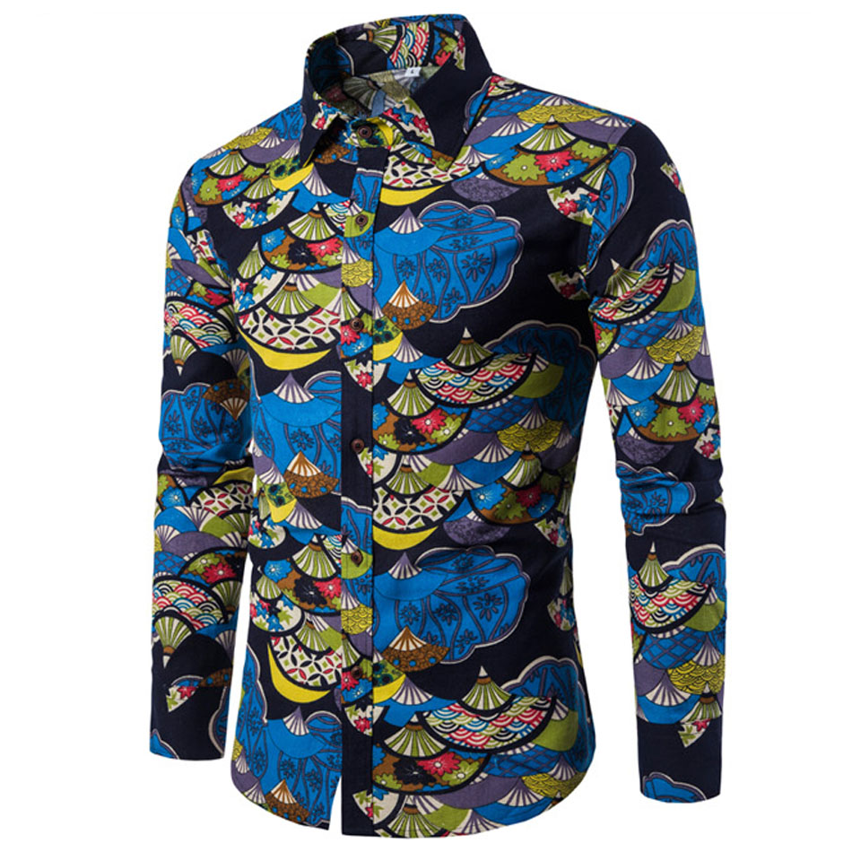 7dfa948af9 Nova Camisa De Linho Vestuário de Moda Masculina Camisas de Vestido Slim  Fit Turn-Down Dos Homens de Manga Comprida Camisa Dos Homens Camisa  Havaiana ...