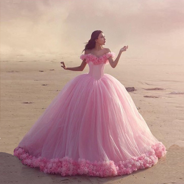 Hot Pink Wedding Gown with Flowers Off Shoulder Robe De Mariage ...