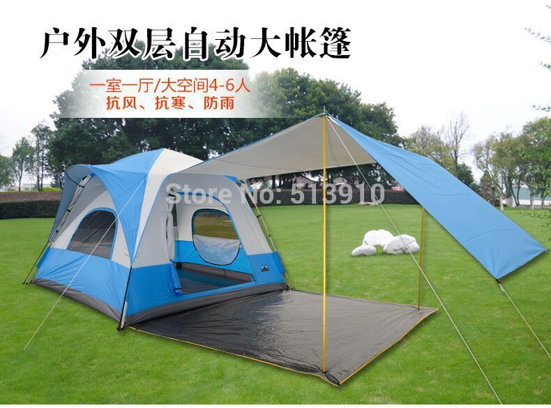UV50+ 1 bedroom 1 living room 5-8 person quick automatic open breathable wind proof anti mosquito outdoor camping tent