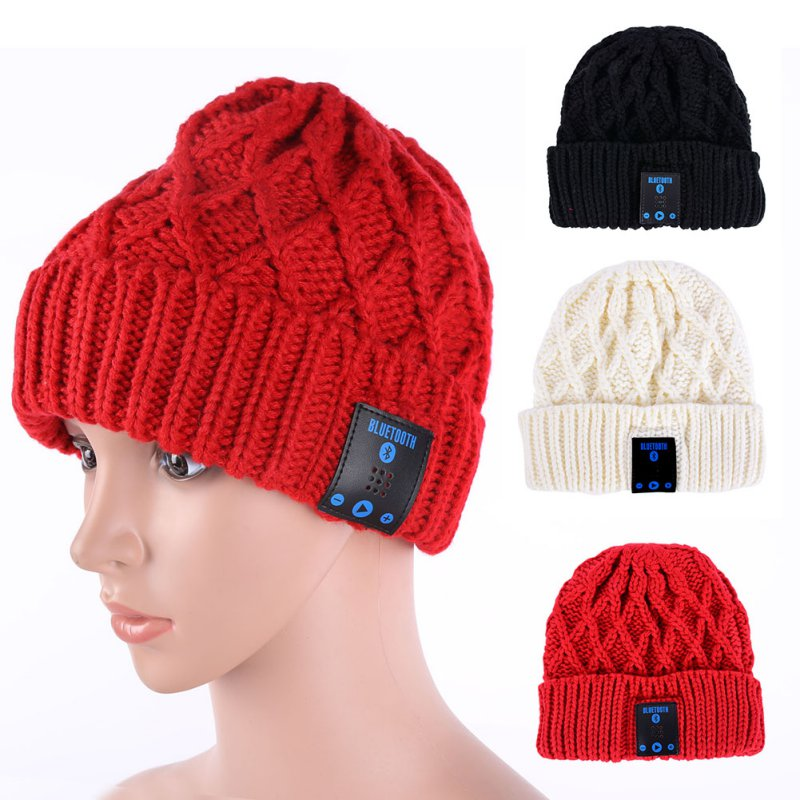 Fashion Winter Women Men Knitted Warm Beanie Hat  Wireless Talk Call Bluetooth Smart Cap Headphone Headset Speaker Mic H2 practical outdoor sports bluetooth headphones speaker mic winter warm knitted beanie hat