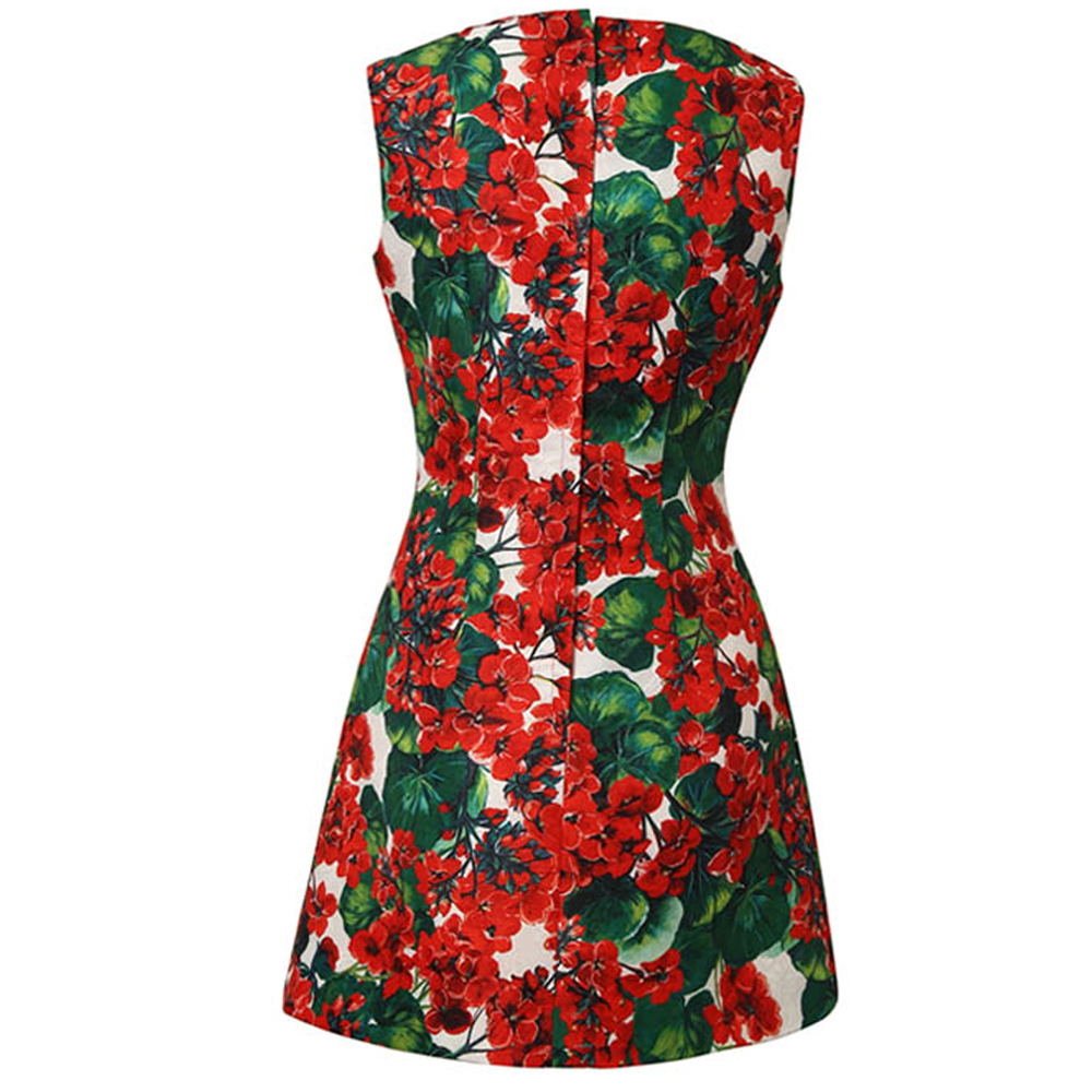 สีแดง RoosaRosee แฟชั่นรันเวย์ผู้หญิง 3d ดอกไม้ Applique ลูกปัดชุดมินิฤดูใบไม้ผลิฤดูร้อนพิมพ์ Elegant Party Dresses Vestidos-ใน ชุดเดรส จาก เสื้อผ้าสตรี บน   2