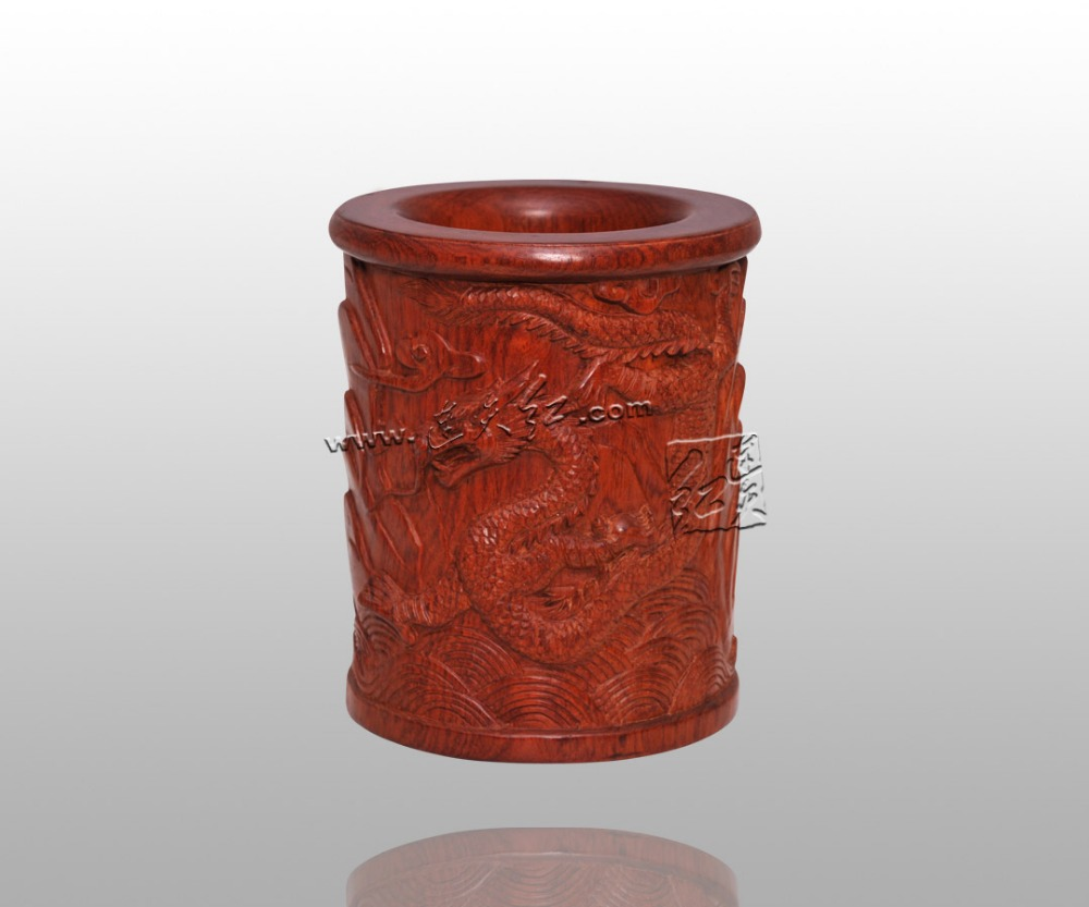 Dragon Grain Brush Pot Redwood Classical Home Decoration Solid wooden Carving Crafts Table Storage Box Pencil Box pen Containers