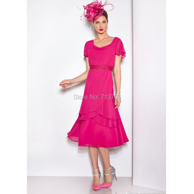 Cheap Long Mother of the Bride Dress Fuschia