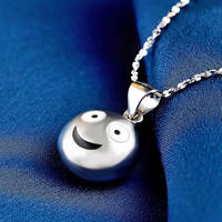 2018 New Pure Silver Necklace Pendant Smiling face Pendant