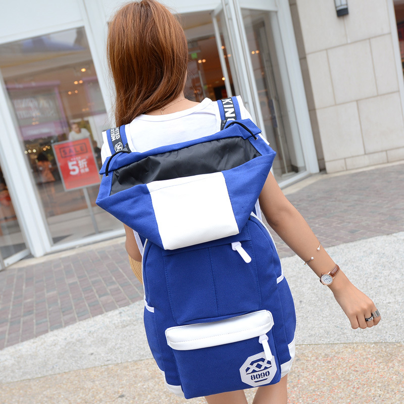 Hat Canvas Women Backpack Cool for Girl School Bag Teenage Student Bag Back Pack Female Back Bag Large Capacity Preppy Style new