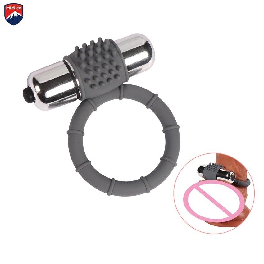 Mlsice Soft Elastic Single Ring Doble Ring Two Vibrating Bullet Penis Cock Ring Man -8749