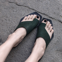 Artmu Original New Simple Flat Women Slippers Outside Wear Soft Casual Cow Leather Handmade Slippers Beach Shoes 9008 9