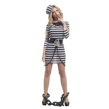 Adult Women Maiden Pretty Female Prisoner Halloween Costume