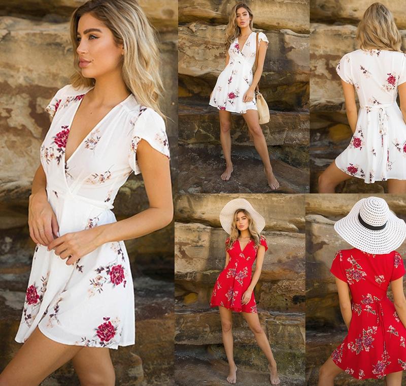 Womens Boho Beach Summer sundress Casual Party Cocktail Short Sleeve Floral Dress elegant playa v-neck harajuku vestido femme 1
