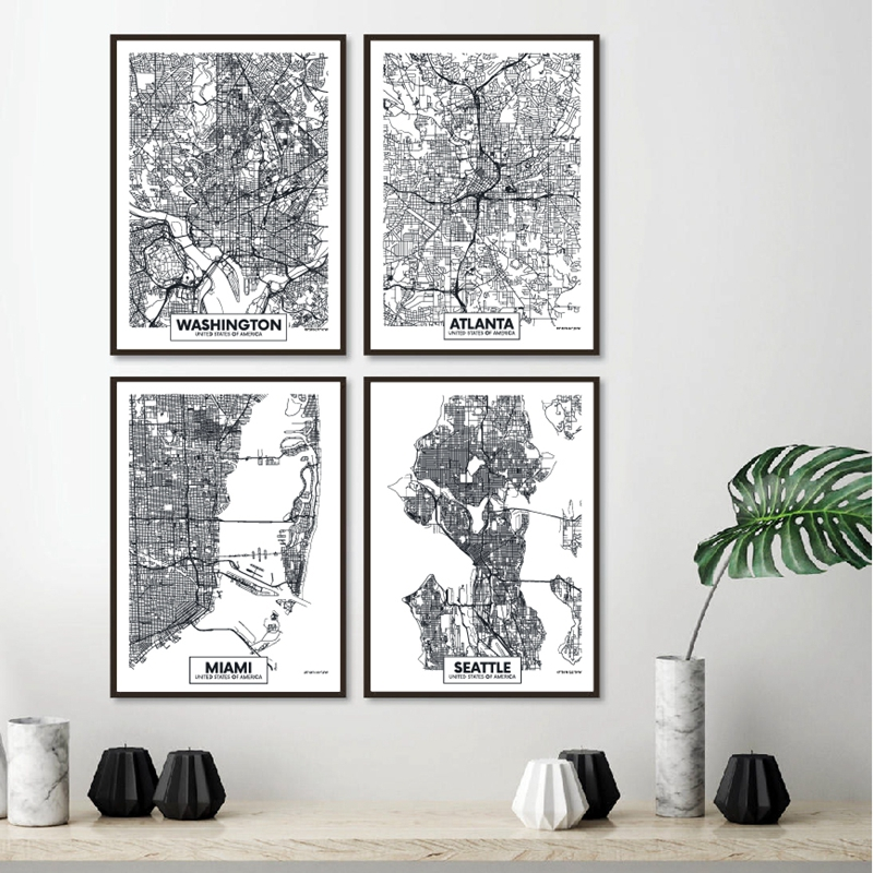 Washington City Map Posters and Prints Atlanta,Miami,Seattle,Philadelphia American City Map Canvas Painting Home Wall Art Decor image