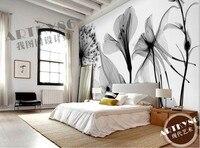 Custom 3d muurschildering 3D Mooie zwart wit art transparante Lelie Rose paardebloem slaapkamer woonkamer wallpaper muurschildering