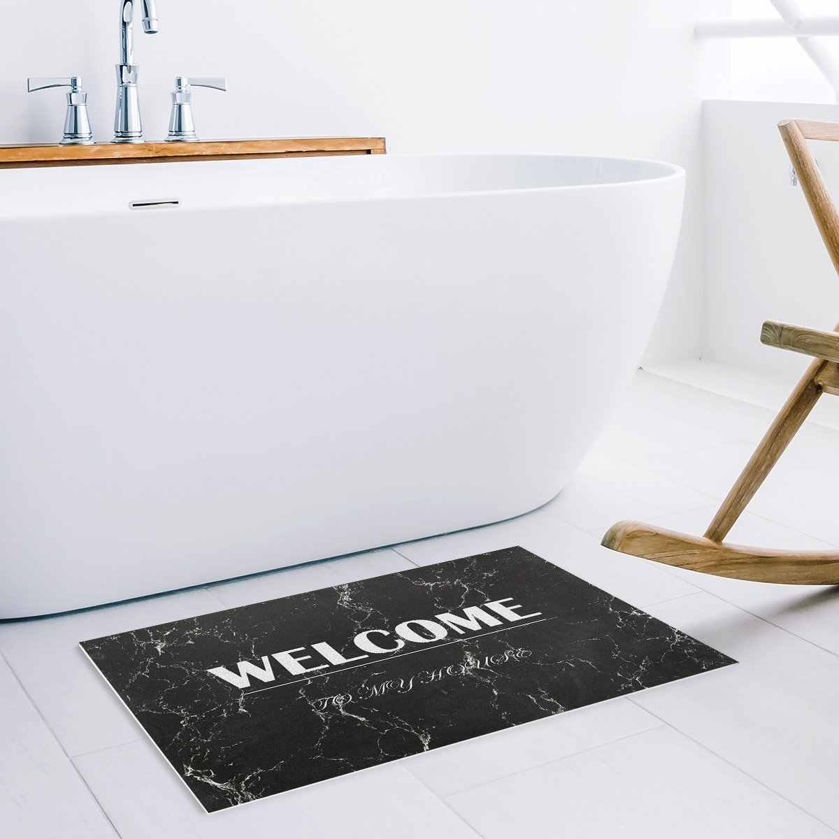 White Welcome On Black Marble Texture Decorative Pattern Door Mats Kitchen Floor Bath Entrance Rug Mat Indoor Bathroom Decor
