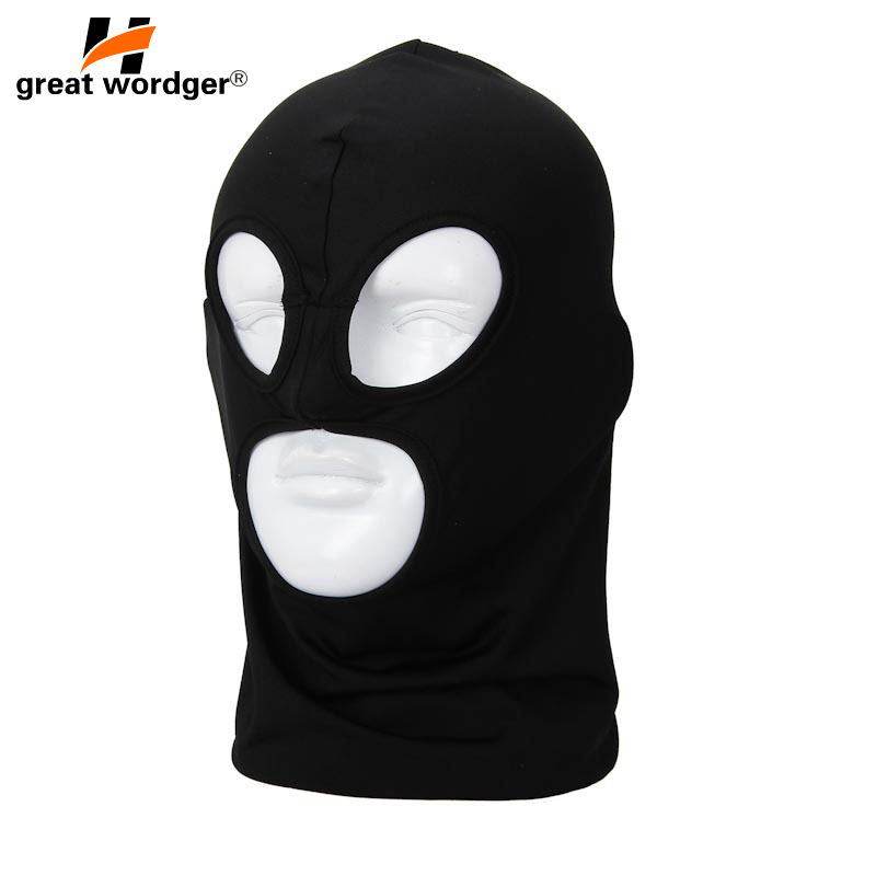 3 Hole Lycra Motorcycle Full Face Mask Balaclava Beanies Military Hiking CS Tactical Sports Cycling Cap Sun-protection