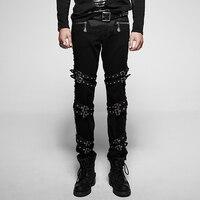 Devil Fashion Punk Thick Diagonals Man Trouser Mid Waist Black Loose Casual Trousers Rock Buckles Tide Handsome Men Pants