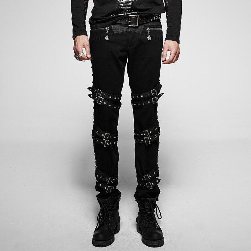 Diable De Mode Punk Épais Diagonales Homme Pantalon Mi Taille Noir Lâche pantalon décontracté Rock Boucles Marée Beau Hommes Pantalon