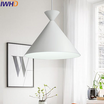 IWHD Bedroom LED Pendant Lights Fashion Modern Hanging Lamp White Living Room Restaurant Home Lighting Fixtures Iluminacion