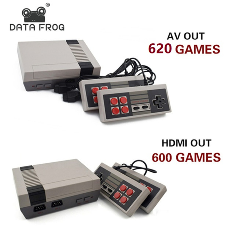 Data Frog Mini TV Game Console Support HDMI/AV 8 Bit Retro Video Game Console Built-In 600/620 Games Handheld Gaming Player us plug hdmi video game player 16 bit md nostalgia gaming console with double 2 4g wireless controllers retro style design