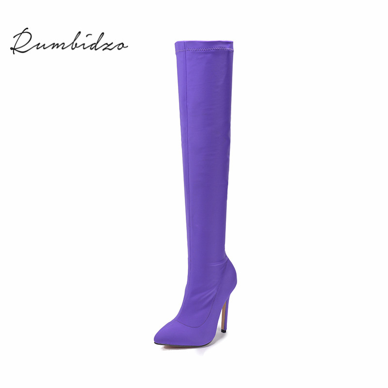Rumbidzo Women Boots 2018 Sexy Over Knee High Boots Woman Shoes Winter Botas High Heels Shoes Women Pointed Toe Bootie Sapatos rumbidzo women boots 2018 fashion woman shoes round toe lace up flat heel winter snow boots women bootie warm botas sapatos