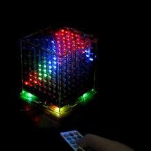 лучшая цена 3D8 multicolor 8x8x8 Kits/Junior led electronic light cubeeds diy kit with  LED Music Spectrum,Christmas Gift