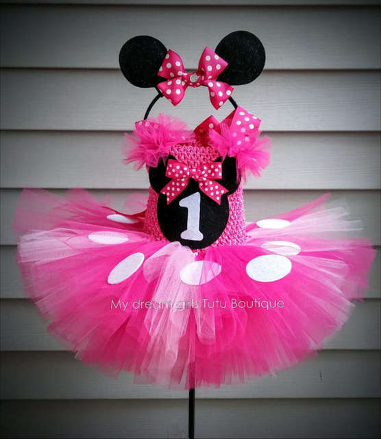 a5e26ee0c3905 POSH DREAM Minnie Mouse Tutu Dress and Headband Set Hot Pink Minnie Mouse  Birthday Tutu Dress Minnie Mouse Tutu Dress for Girls
