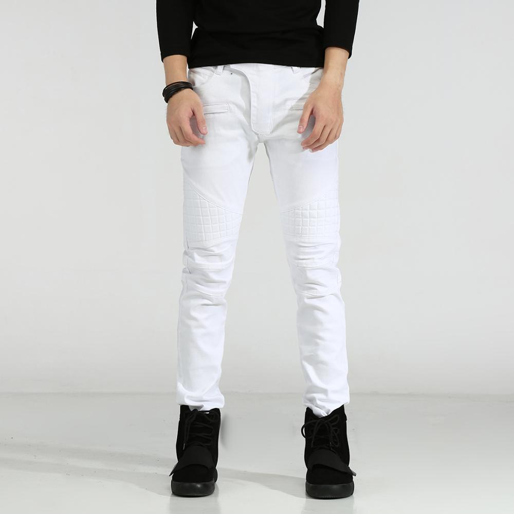 2017 new Men Jeans Slim Fit Elastic White Jeans Men Casual Biker Jeans Straight Denim Skinny Men Bermuda Jeans Masculina 2017 fashion spring jeans hip hop men rider biker jeans masculina casual denim men s slim jeans pants brand skinny jeans homme