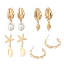 4 Pair Assorted Summer Conch Shell Pearl Drop Earrings Kit Beach Fashion Jewelry