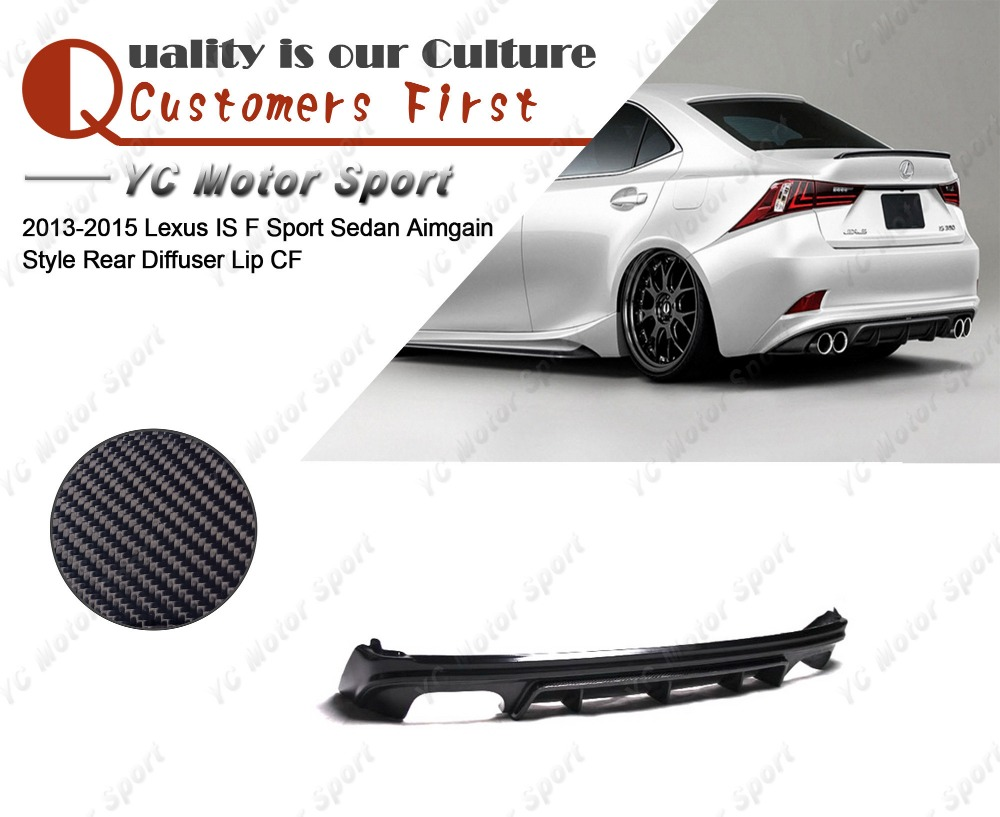 Car Accessories Carbon Fiber Aimgain Style Rear Diffuser Fit For 2013-2015 Lexus IS F Sport Sedan Rear Lower Lip