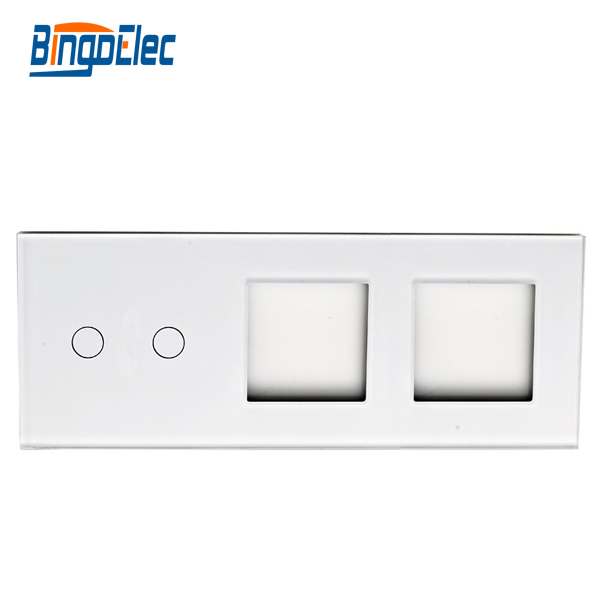 Glass switch panel and socket frame, 2gang switch panel and 2frame,86*229mm,Hot sale 4pc for skoda kodiaq glass lifting control switch panel protect decorative frame