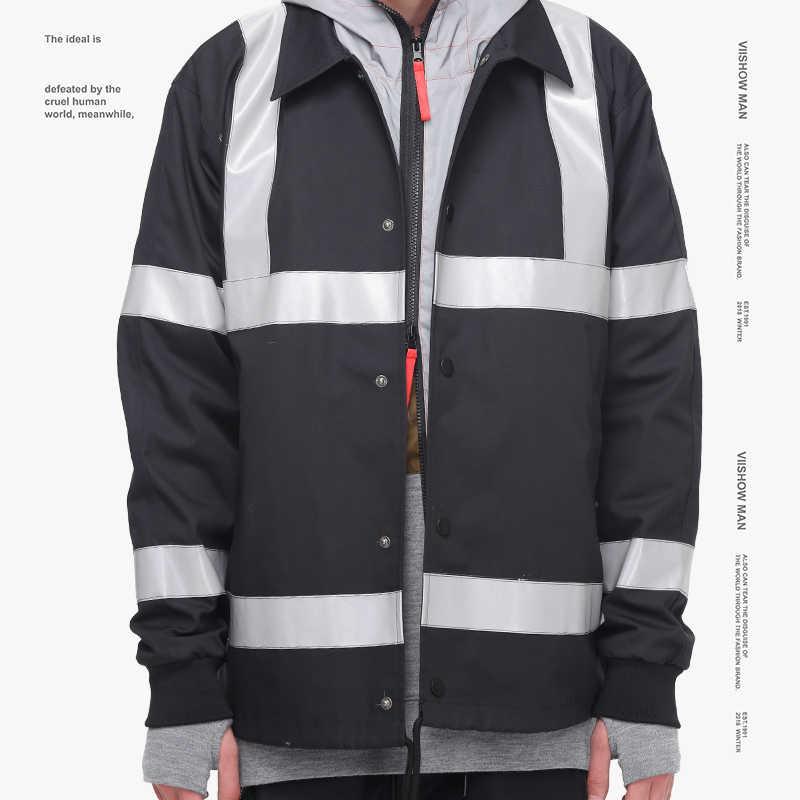VIISHOW Новая модная куртка пальто брендовая мужская одежда ретро моды блесток лоскутное Куртки мужской качество верхняя одежда черный JC1652183