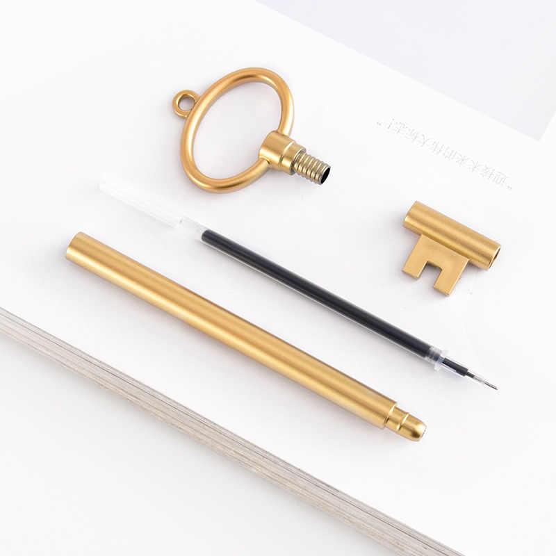 רטרו מפתח ניטראלי עט תלמיד קריקטורה חמוד חתימה כתיבה עט Creative פלסטיק מזרקת עטים סיטונאי משרד מכתבים