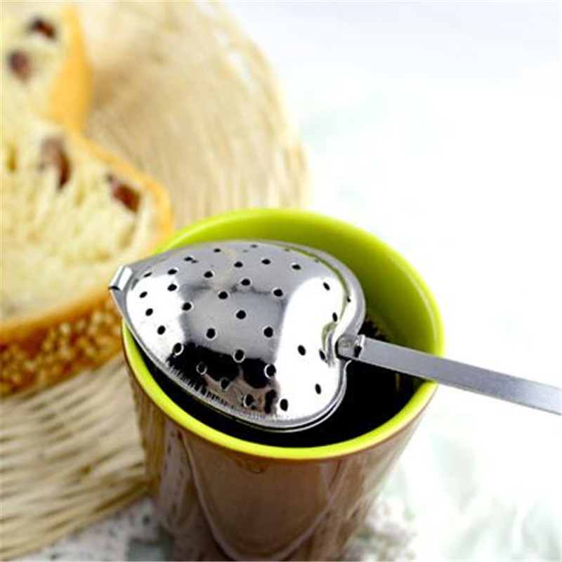 New Heart Shaped Filter Tea Balls Stainless Steel Tea Strainers Oblique Tea Stick Tube Tea Infuser Steeper H-48