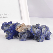 3 pieces Gemstones Natural lapis lazuli elephant figurines craft carved Mini animals statues for kids decor healing crystals