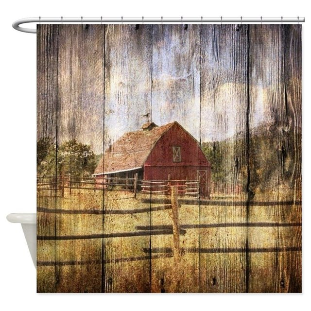 Western Country Red Barn Shower Curtain Mat Decorative Waterproof Polyester Fabric Bathroom Set Home Bath Decor