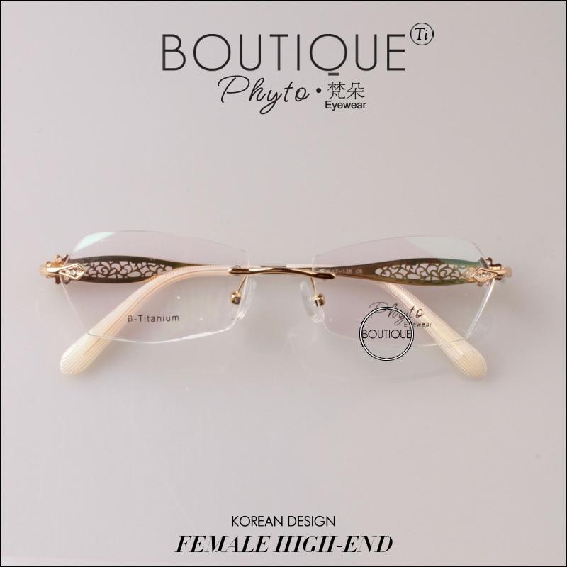 30d863f1b10 Top Quality Pure Titanium Women Glasses Myopia Optical Ultra Light Woman  Rimless Eyeglasses Female Eyewear Elegance