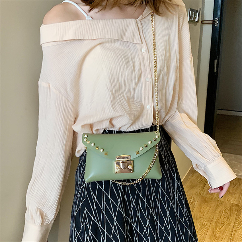 TOYOOSKY Fashion Rivets Waist Pack Luxury Designer Fanny Pack Small Women Messenger Bag Phone Pouch Chest Belt Bag Purse