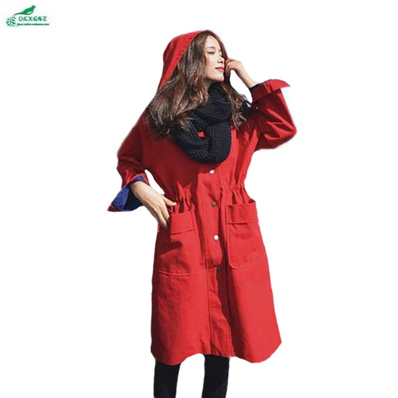 Tranchée Nouveau Long Haute Manteau Femmes Qualité Causalité 2017 Mode Coupe Cordon Rouge À 0 Hy18 vent De Mince Capuchon Printemps Taille Kxgnz 5vwqY