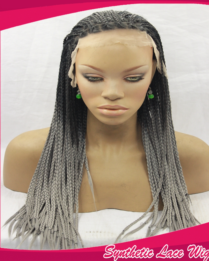 New Black/Green Ombre Braided Lace Front Wigs Ombre grey Braided Wigs Synthetic Lace Front Wig for Fashion Women