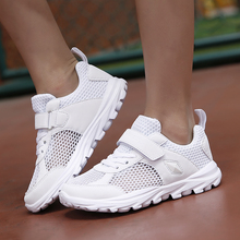 Boys Girls White Shoes Teenage Summer Kids Sneakers Mesh Breathable Sport Shoes Light Wear-resistant Tennis Sneakers Size 28-38