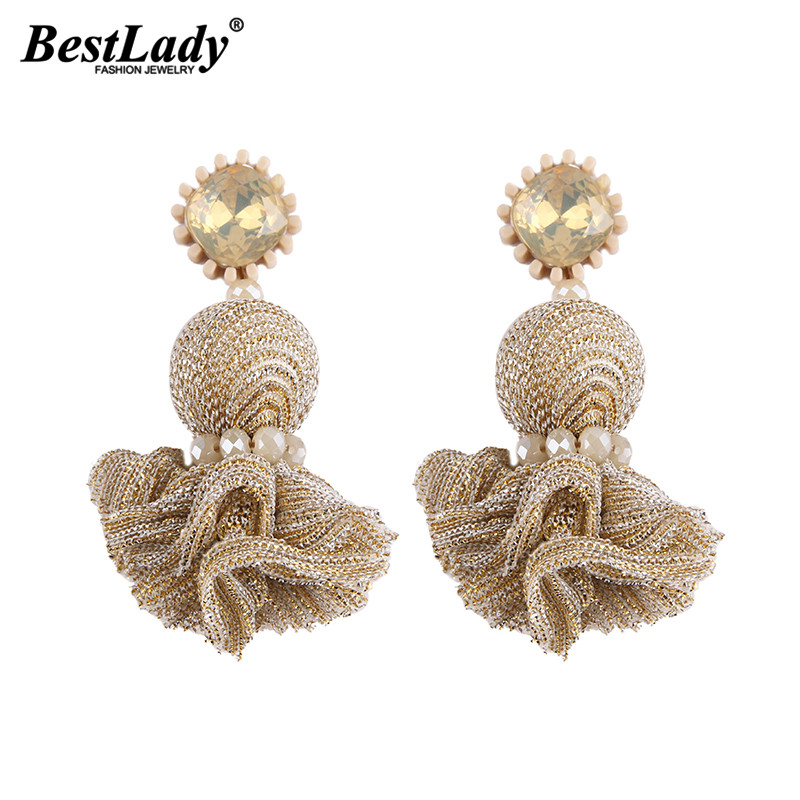 Best lady Pinky Color Big Pendant Earrings For Women Bohemian Fashion Bijoux Wholesale New Cheap Jewelry Drop Statement Earrings